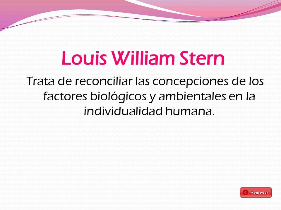 Louis William Stern Trata de reconciliar las concepciones de los factores biológicos y ambientales en la individualidad humana.