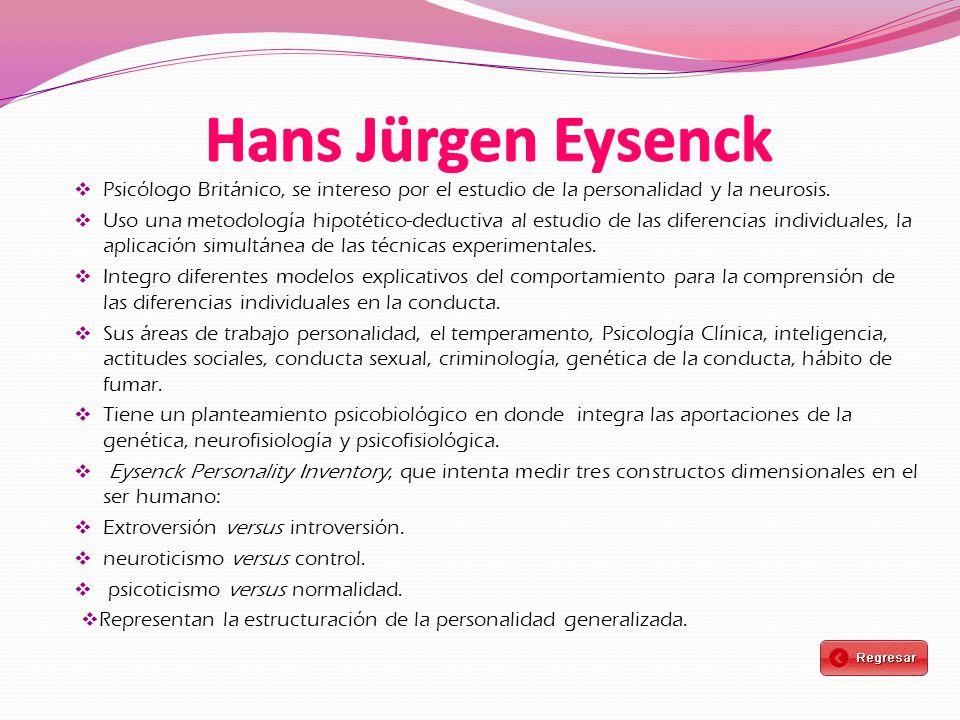 Hans Jürgen Eysenck Psicólogo Británico, se intereso por el estudio de la personalidad y la neurosis.