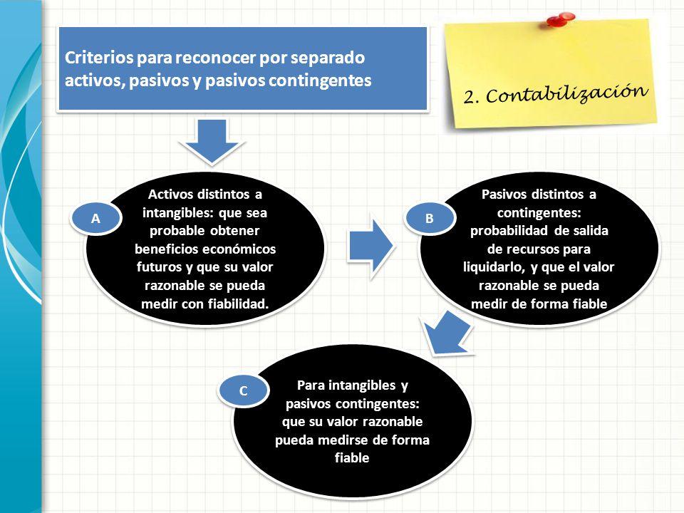 2. Contabilización Criterios para reconocer por separado activos, pasivos y pasivos contingentes.