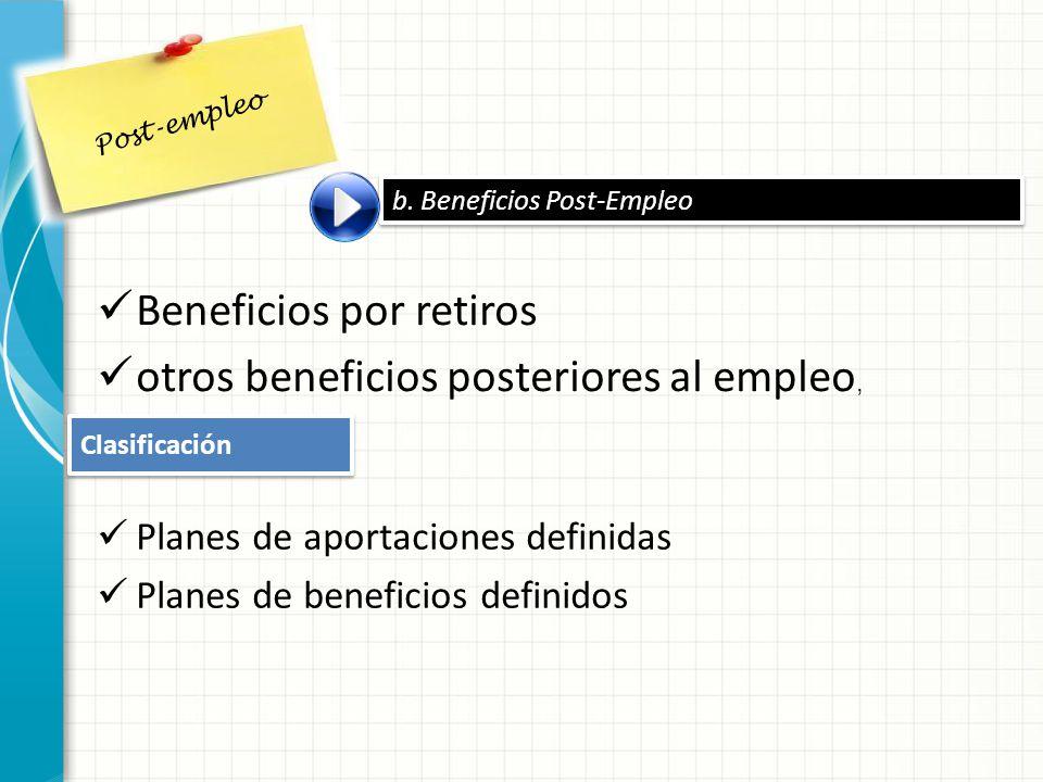 Beneficios por retiros otros beneficios posteriores al empleo,