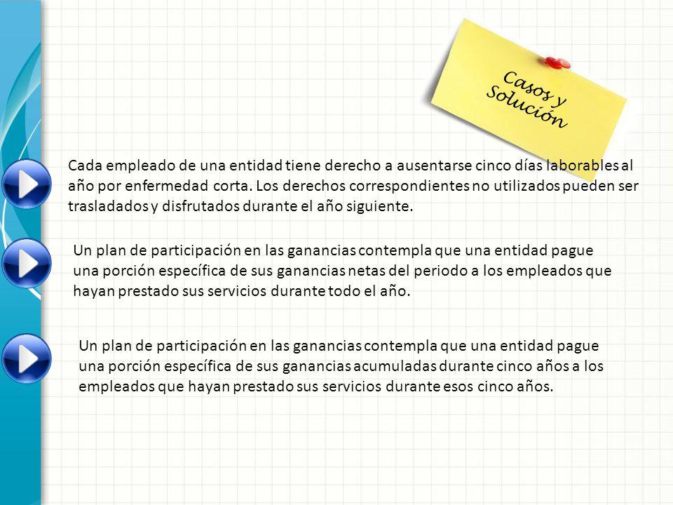 Casos y Solución Cada empleado de una entidad tiene derecho a ausentarse cinco días laborables al.