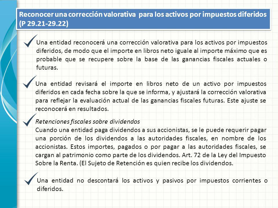 Reconocer una corrección valorativa para los activos por impuestos diferidos (P 29.21-29.22)