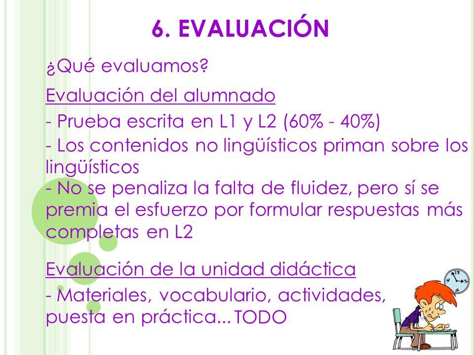 6. EVALUACIÓN ¿Qué evaluamos Evaluación del alumnado