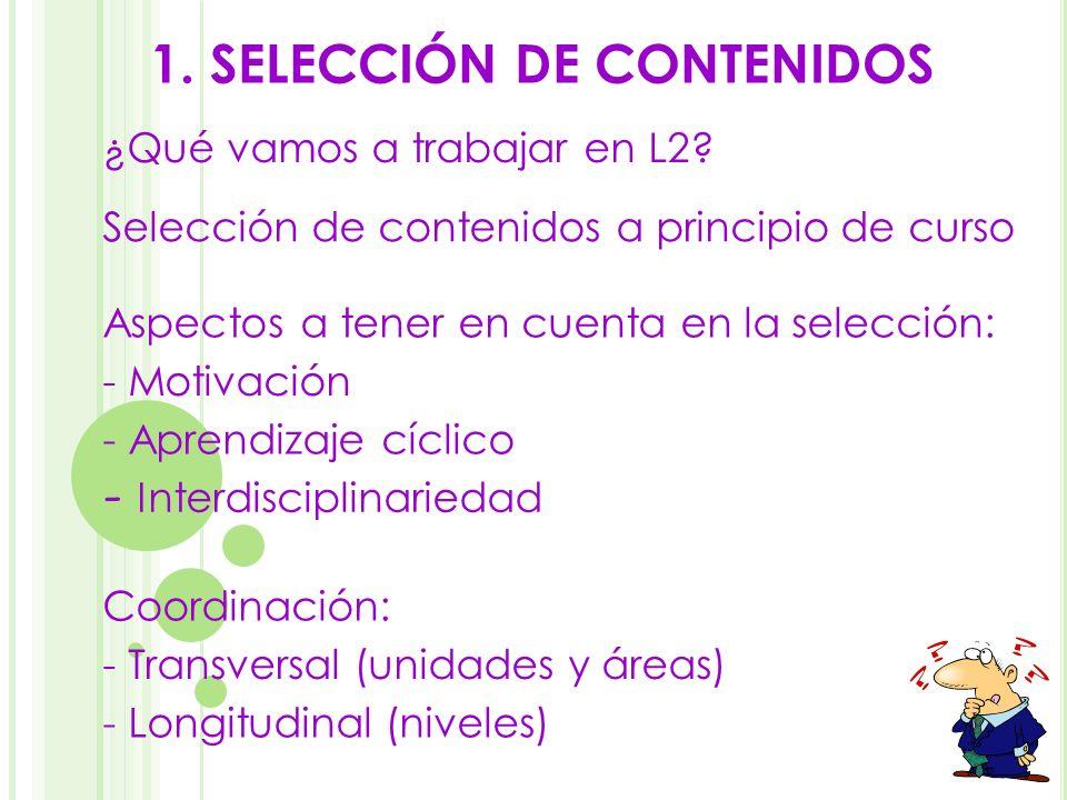 1. SELECCIÓN DE CONTENIDOS
