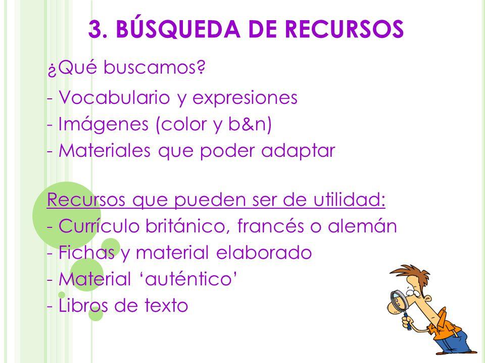 3. BÚSQUEDA DE RECURSOS ¿Qué buscamos - Vocabulario y expresiones