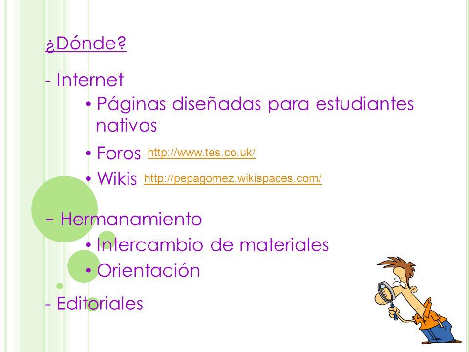 - Hermanamiento ¿Dónde - Internet Páginas diseñadas para estudiantes