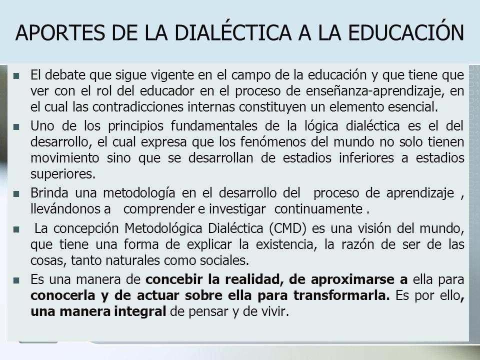 APORTES DE LA DIALÉCTICA A LA EDUCACIÓN