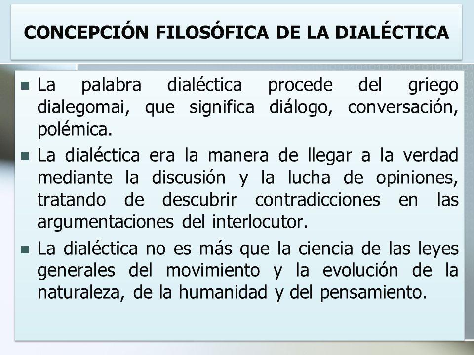 CONCEPCIÓN FILOSÓFICA DE LA DIALÉCTICA