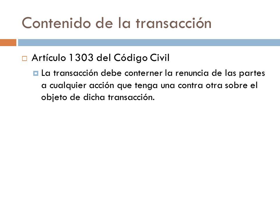 Contenido de la transacción