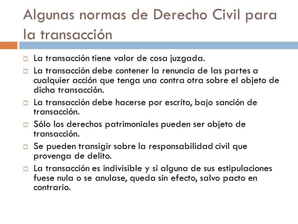 Algunas normas de Derecho Civil para la transacción