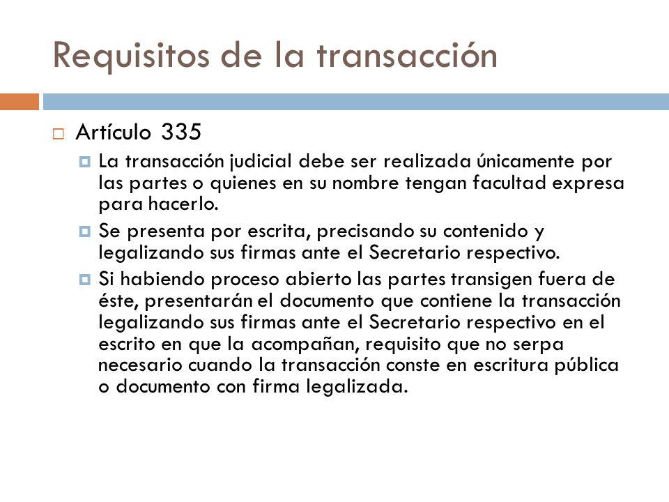 Requisitos de la transacción