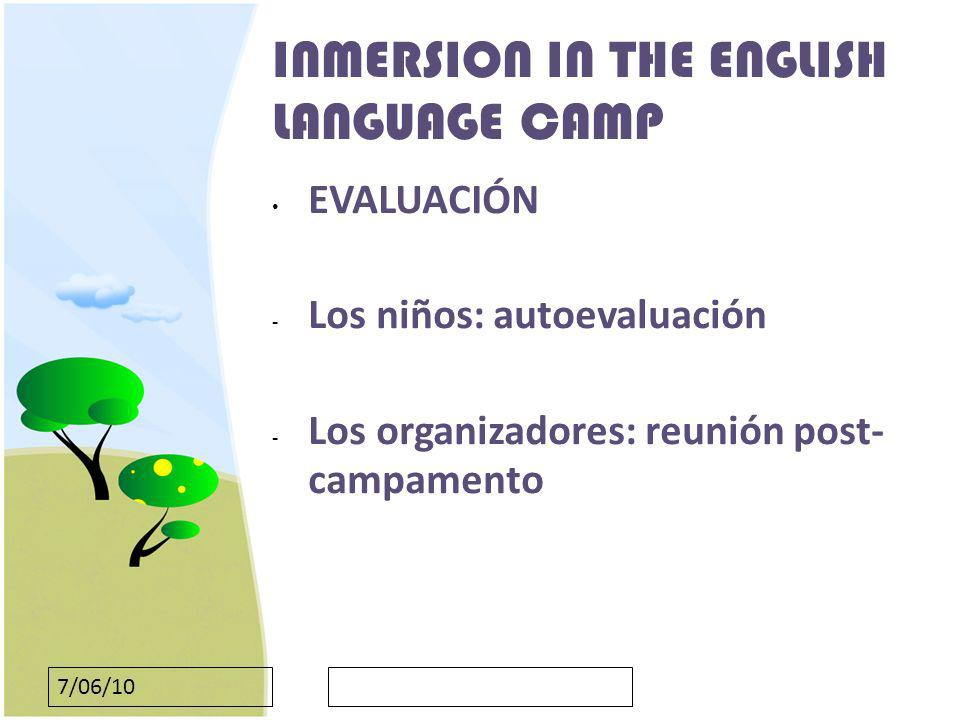 INMERSION IN THE ENGLISH LANGUAGE CAMP
