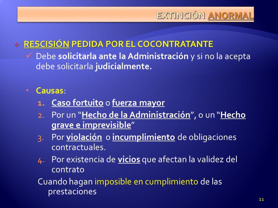 EXTINCIÓN ANORMAL RESCISIÓN PEDIDA POR EL COCONTRATANTE