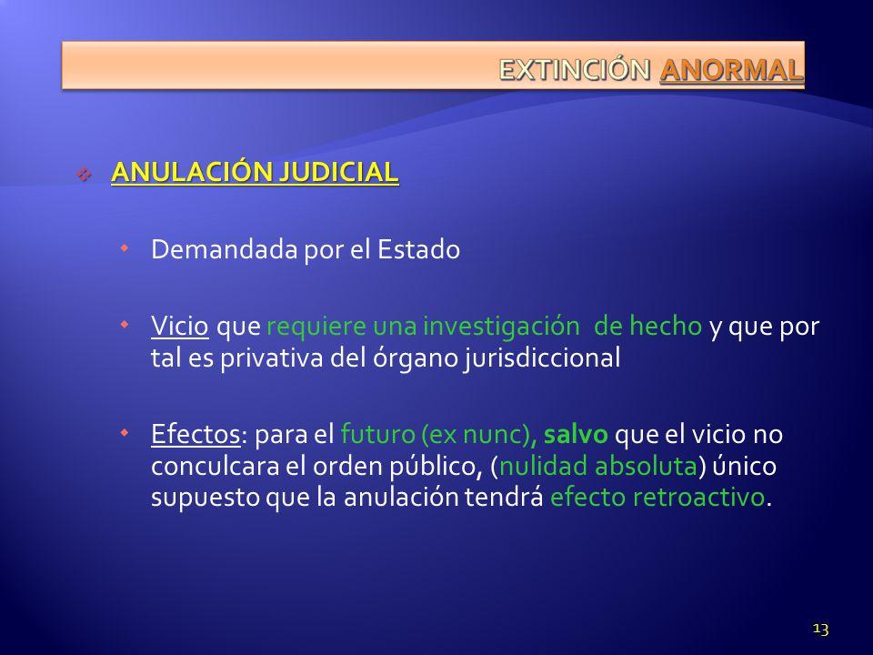 EXTINCIÓN ANORMAL ANULACIÓN JUDICIAL Demandada por el Estado