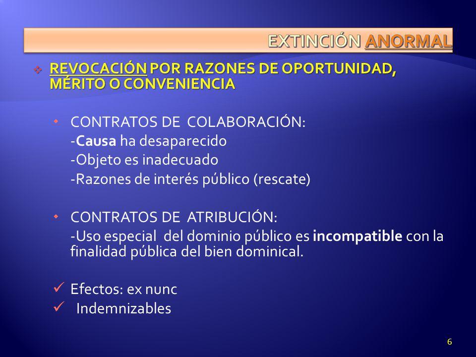 EXTINCIÓN ANORMAL REVOCACIÓN POR RAZONES DE OPORTUNIDAD, MÉRITO O CONVENIENCIA. CONTRATOS DE COLABORACIÓN: