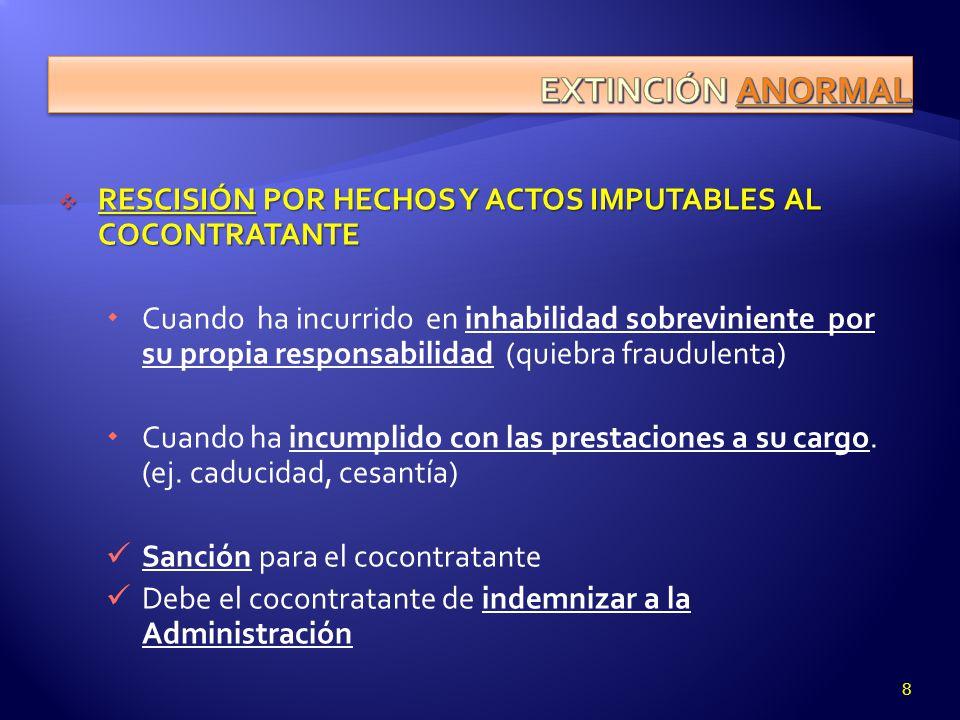 EXTINCIÓN ANORMAL RESCISIÓN POR HECHOS Y ACTOS IMPUTABLES AL COCONTRATANTE.