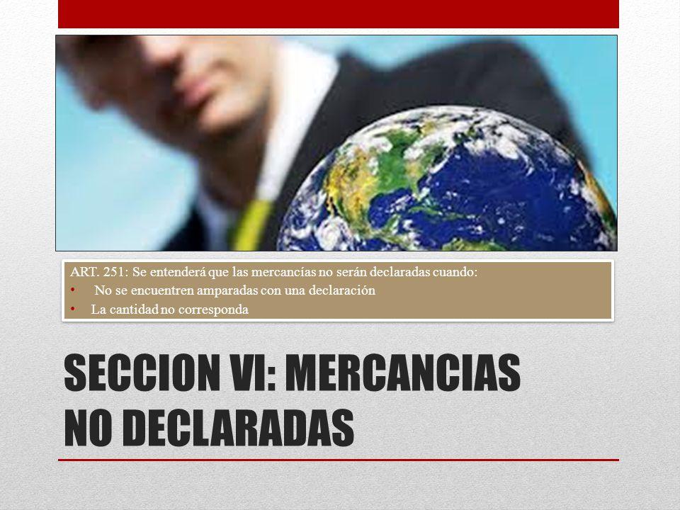 SECCION VI: MERCANCIAS NO DECLARADAS