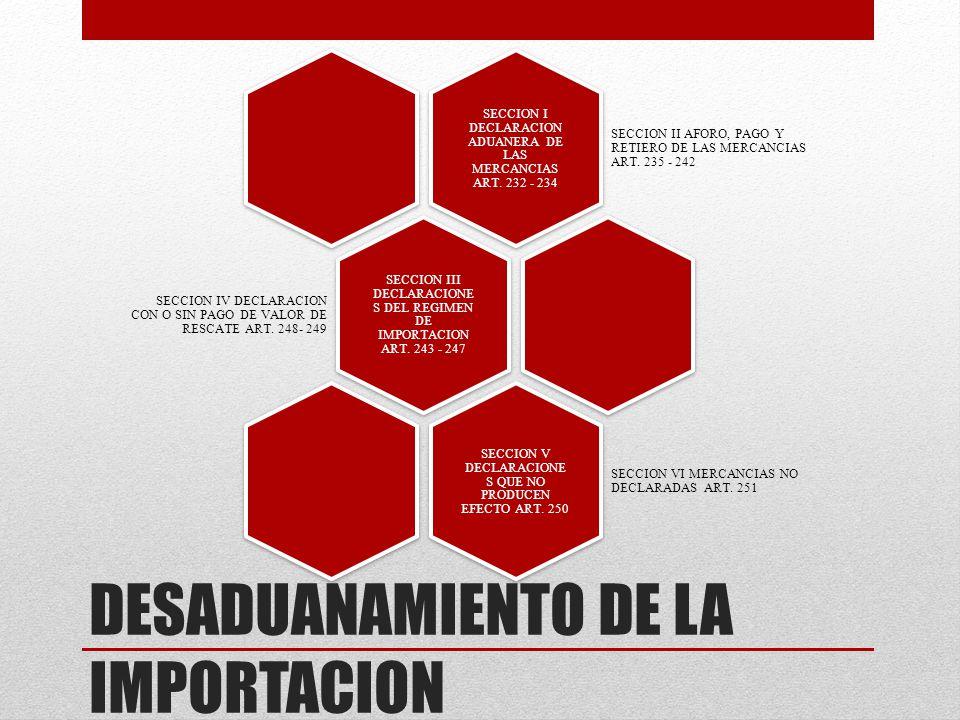 DESADUANAMIENTO DE LA IMPORTACION