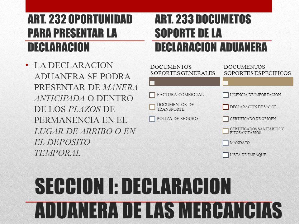 SECCION I: DECLARACION ADUANERA DE LAS MERCANCIAS