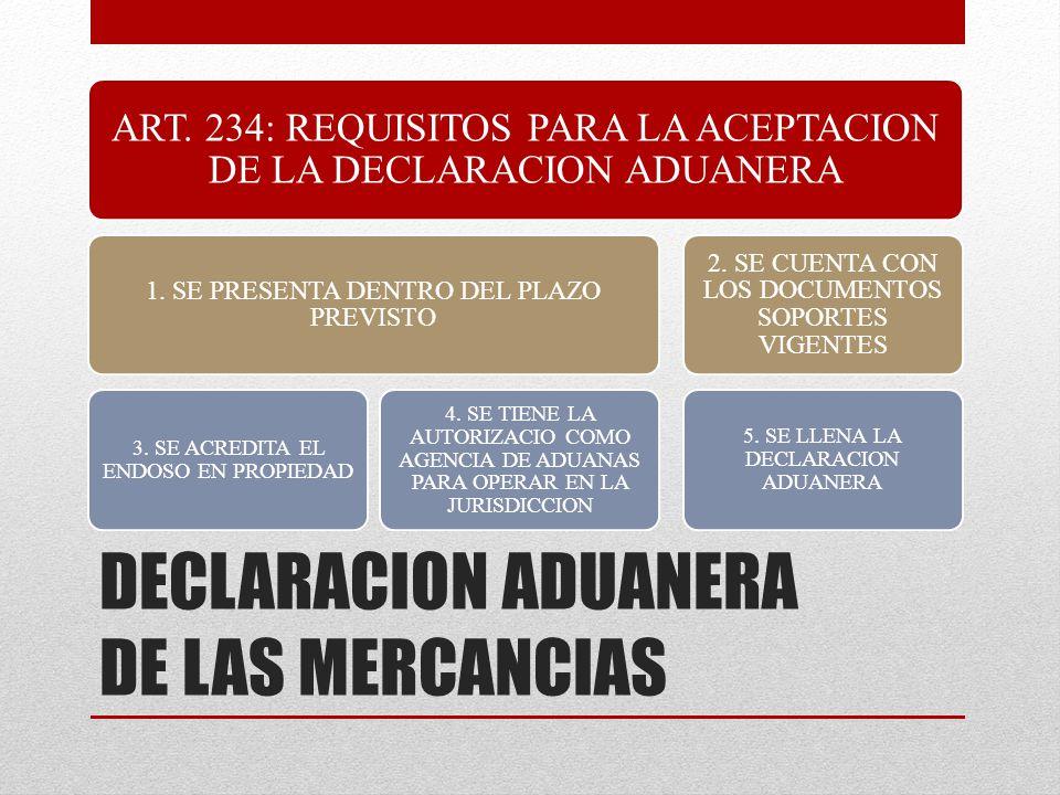DECLARACION ADUANERA DE LAS MERCANCIAS