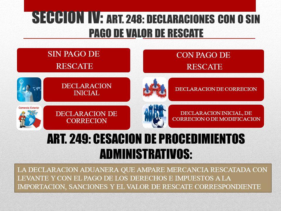 SECCION IV: ART. 248: DECLARACIONES CON O SIN PAGO DE VALOR DE RESCATE