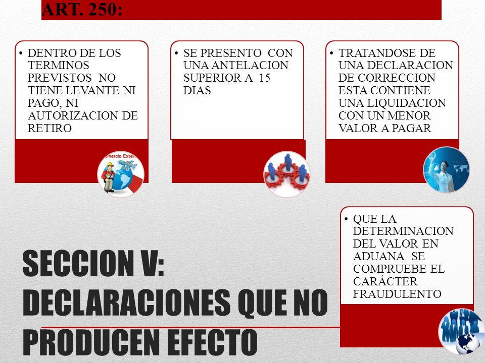 SECCION V: DECLARACIONES QUE NO PRODUCEN EFECTO