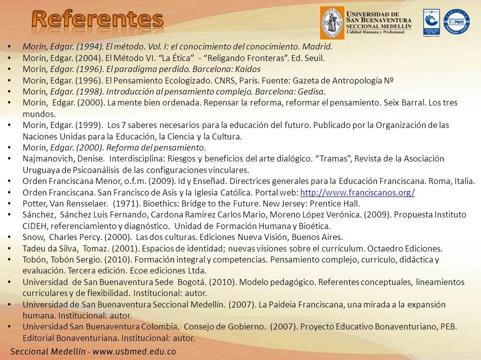 Referentes Morín, Edgar. (1994). El método. Vol. I: el conocimiento del conocimiento. Madrid.