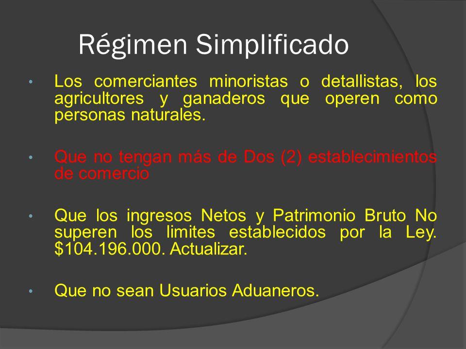 Régimen Simplificado Los comerciantes minoristas o detallistas, los agricultores y ganaderos que operen como personas naturales.