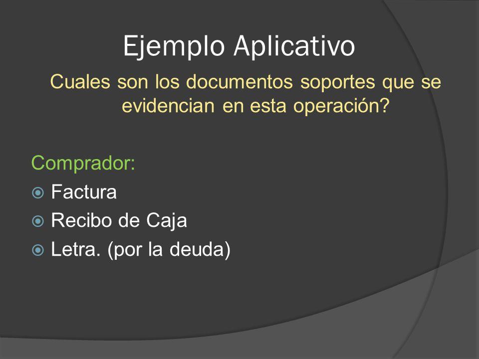 Ejemplo Aplicativo Cuales son los documentos soportes que se evidencian en esta operación Comprador: