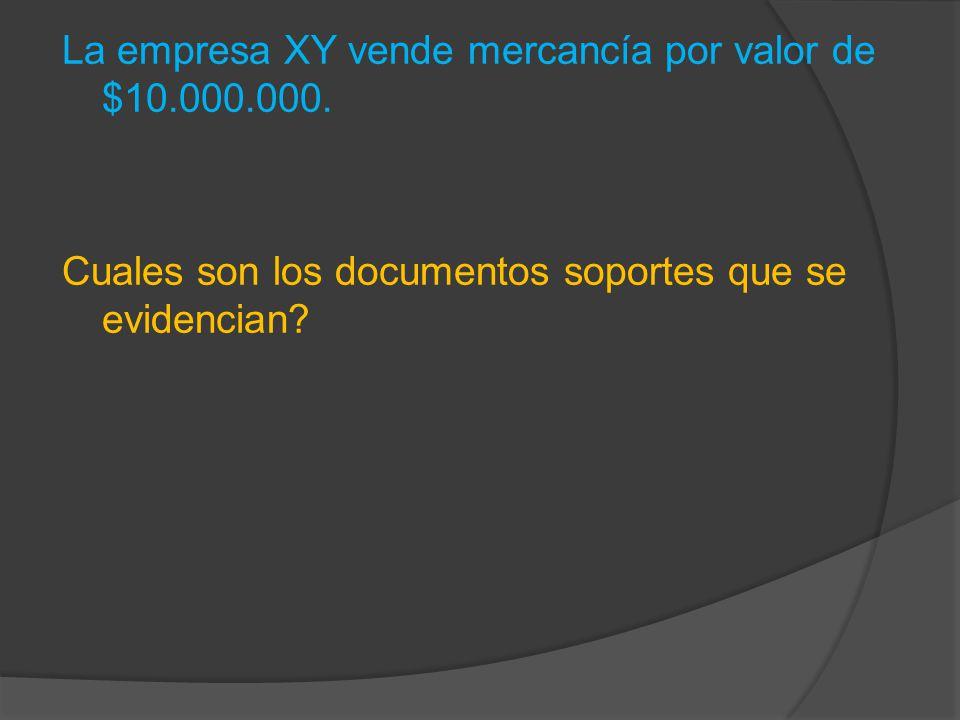 La empresa XY vende mercancía por valor de $10.000.000.
