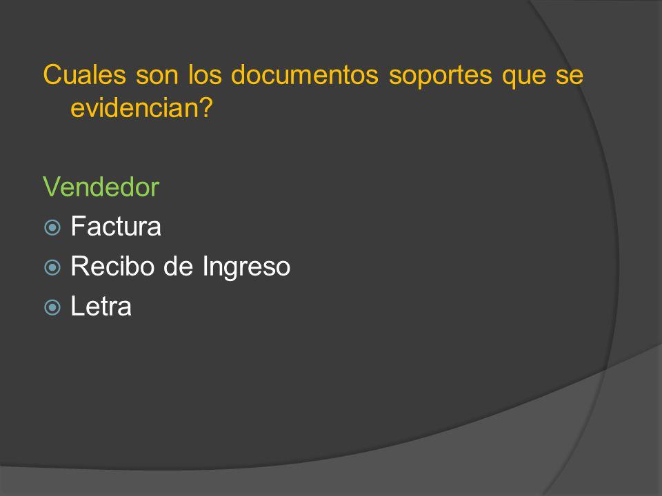 Cuales son los documentos soportes que se evidencian