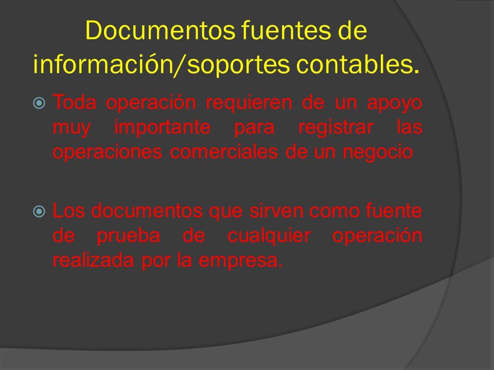 Documentos fuentes de información/soportes contables.