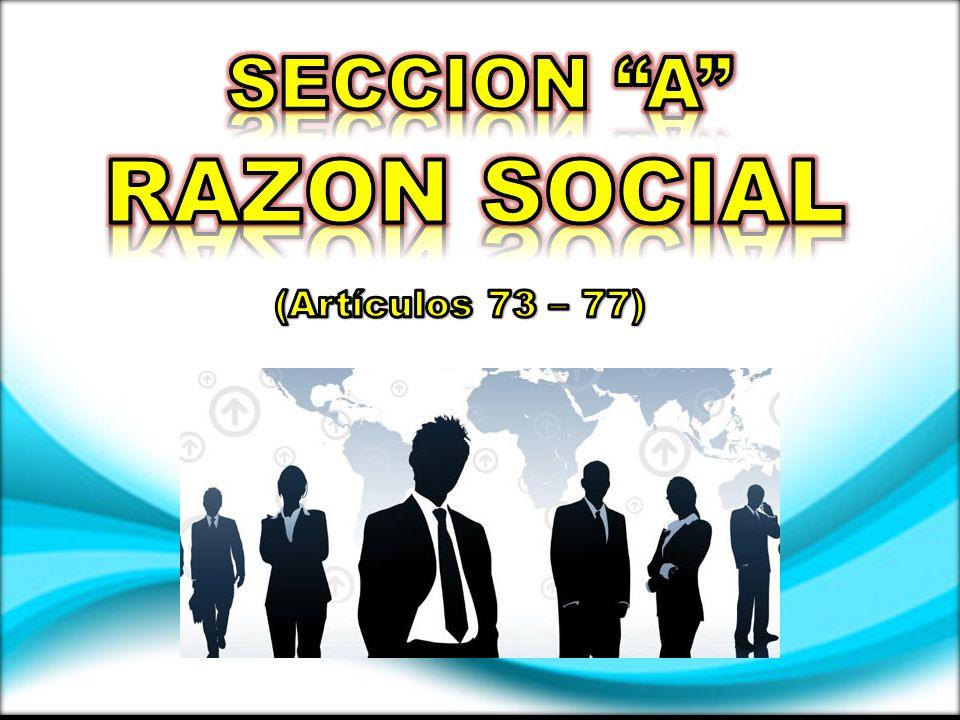 SECCION A RAZON SOCIAL (Artículos 73 – 77)
