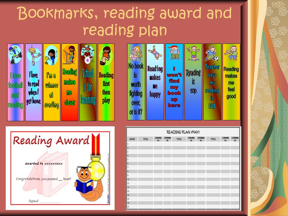 Bookmarks, reading award and reading plan