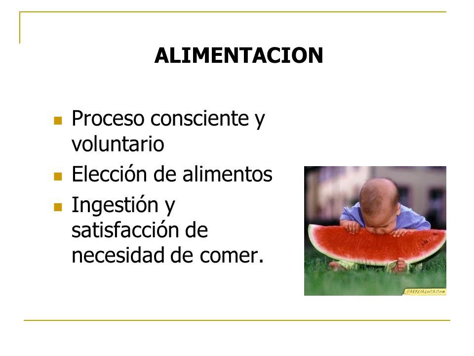 ALIMENTACION Proceso consciente y voluntario. Elección de alimentos.