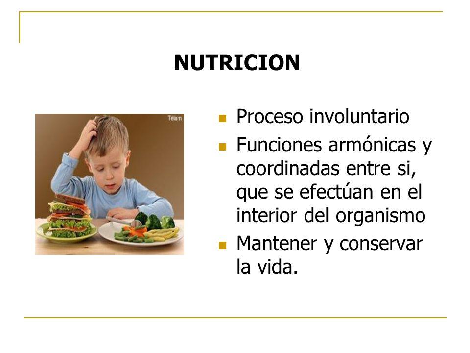 NUTRICION Proceso involuntario