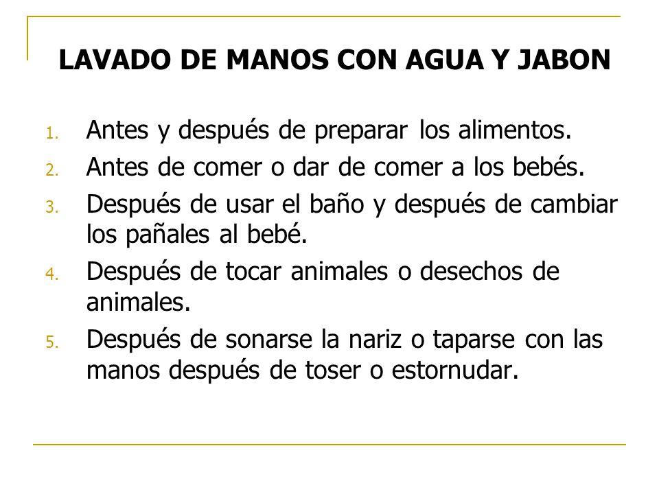 LAVADO DE MANOS CON AGUA Y JABON