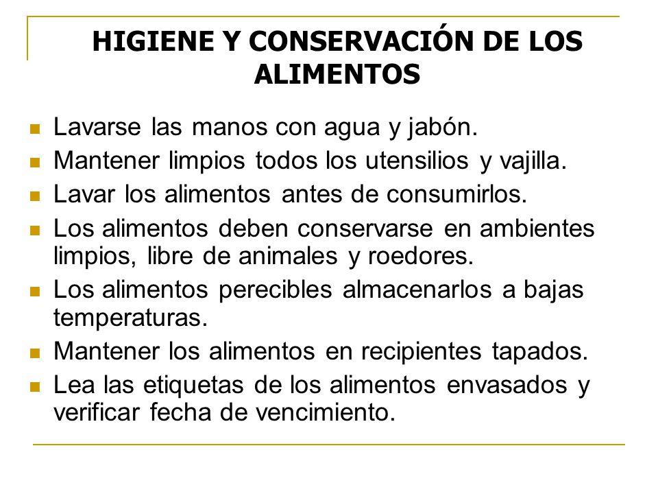 HIGIENE Y CONSERVACIÓN DE LOS ALIMENTOS
