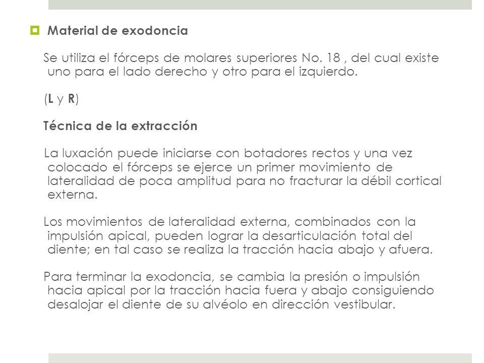 Material de exodoncia Se utiliza el fórceps de molares superiores No. 18 , del cual existe uno para el lado derecho y otro para el izquierdo.