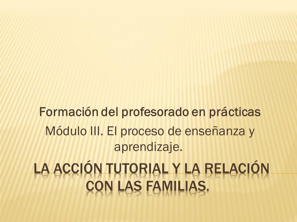 La acción tutorial y la relación con las familias.