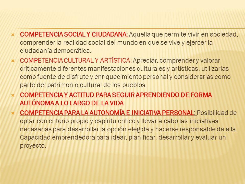 COMPETENCIA SOCIAL Y CIUDADANA: Aquella que permite vivir en sociedad, comprender la realidad social del mundo en que se vive y ejercer la ciudadanía democrática.