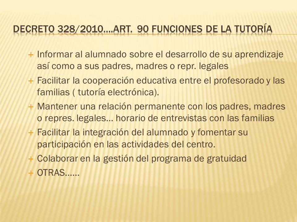 Decreto 328/2010….Art. 90 Funciones de la tutoría