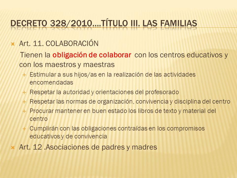 Decreto 328/2010….TÍTULO III. Las familias