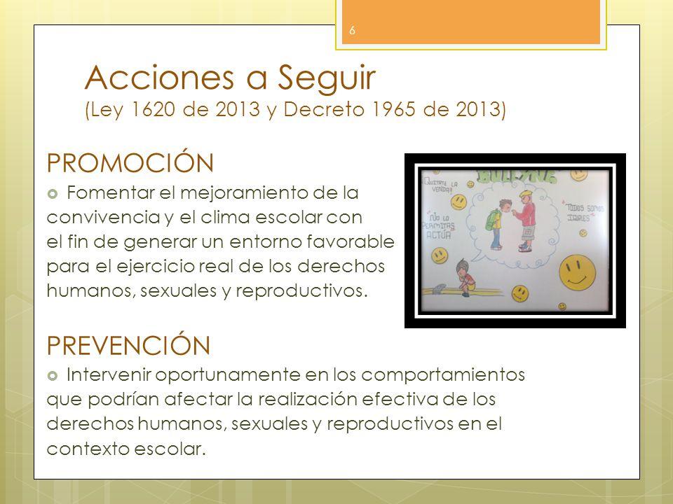 Acciones a Seguir (Ley 1620 de 2013 y Decreto 1965 de 2013)