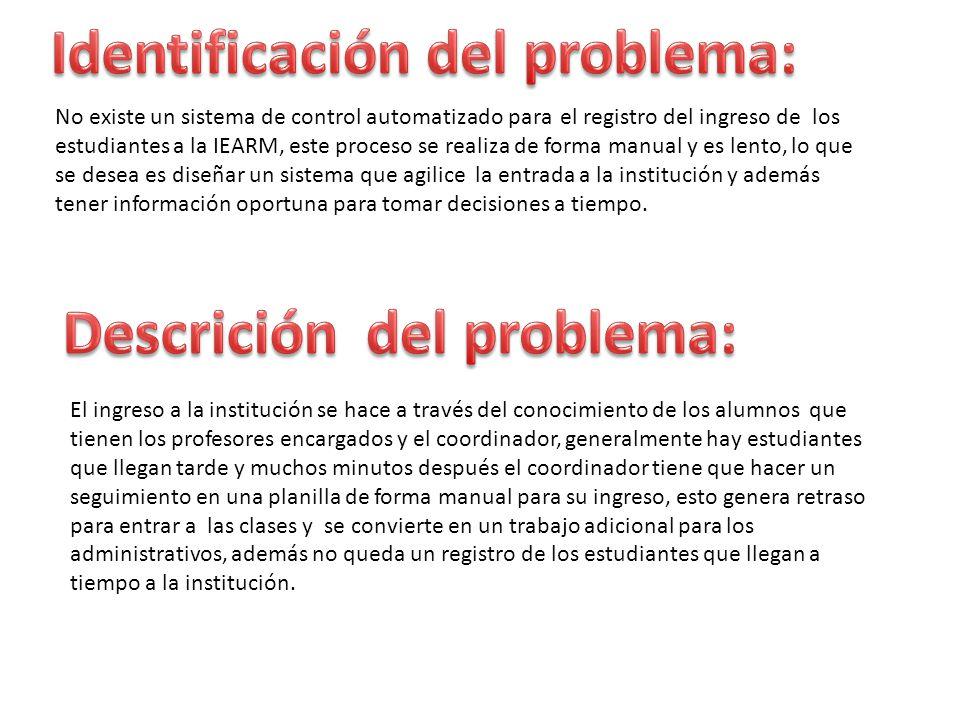 Identificación del problema: Descrición del problema: