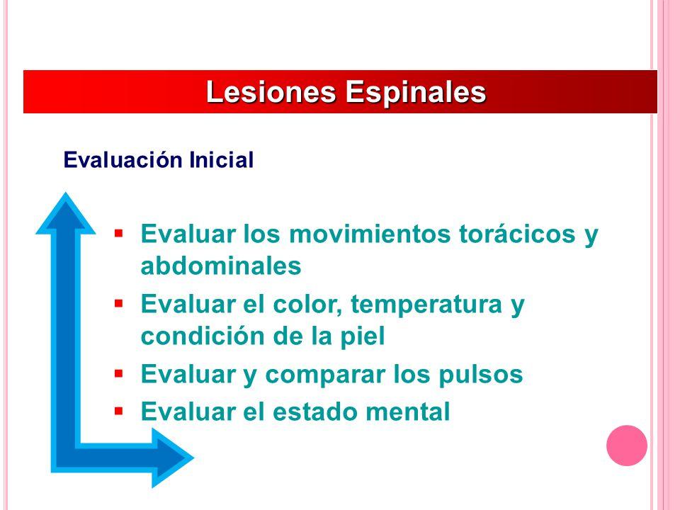Lesiones Espinales Evaluar los movimientos torácicos y abdominales