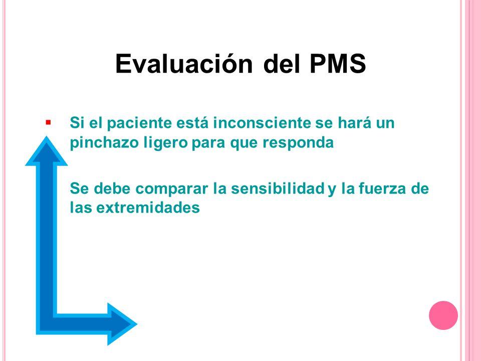 Evaluación del PMS Si el paciente está inconsciente se hará un pinchazo ligero para que responda.