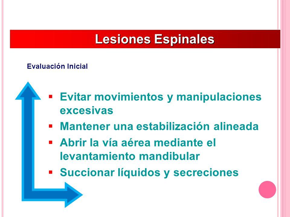 Lesiones Espinales Evitar movimientos y manipulaciones excesivas