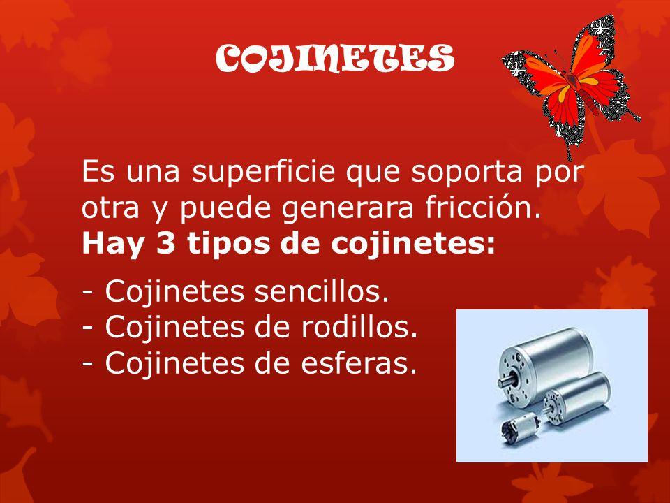 COJINETES Es una superficie que soporta por otra y puede generara fricción. Hay 3 tipos de cojinetes: