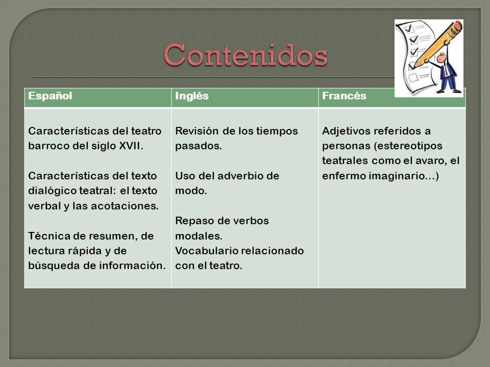 Contenidos Español Inglés Francés